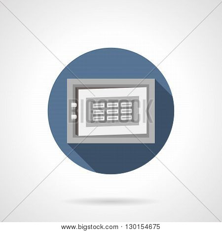 Steel safe box with digital lock, long shadow design. Storage of wealth in banks, protection and safety of finance, security systems. Round flat color style vector icon.