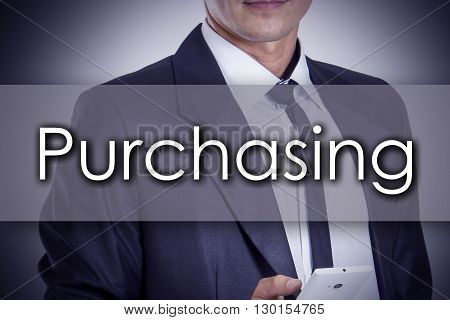 Purchasing - Young Businessman With Text - Business Concept
