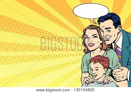 Happy retro family on the poster pop art retro style. mom, dad and son on the advertising poster