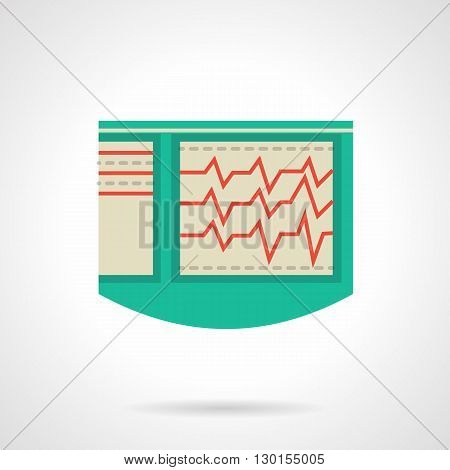 Electrocardiograph with red curves. Medical technology for emergency, diagnosis of heart disease with hospital equipment. Flat color design vector icon.