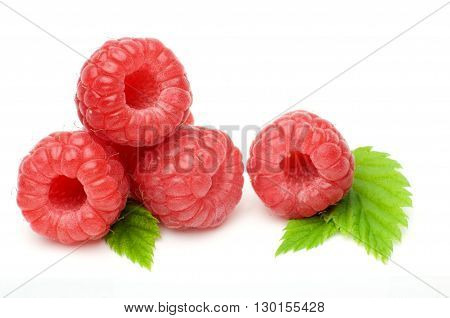 Macro shot fresh raspberries isolated on white