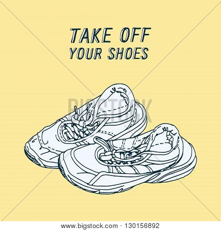 take off your shoes - vector illustrated sign
