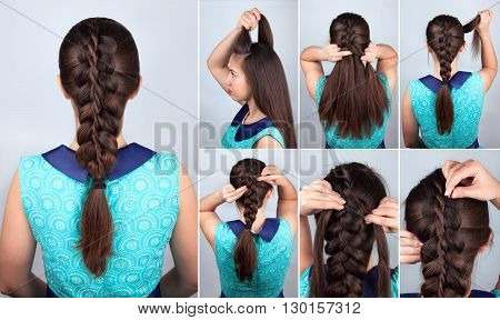 simple braid hairstyle tutorial. Plait hairstyle for long hair