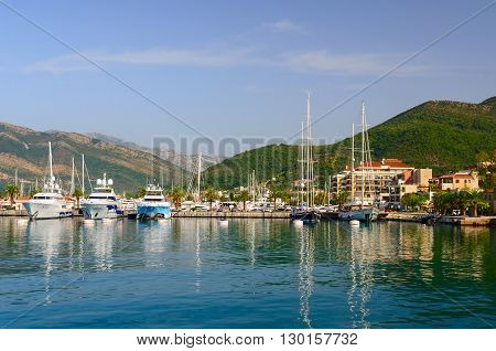 TIVAT MONTENEGRO - SEPTEMBER 16 2015: Ships are near the coast of the Bay of Tivat Tivat Montenegro