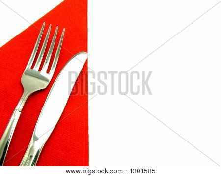 Knife And Fork On Napkin