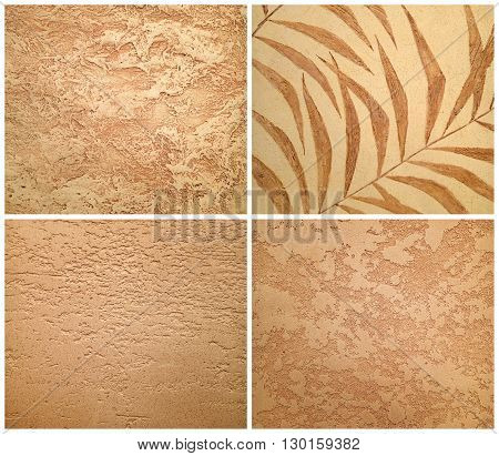Collection of beige decorative plaster, art brush texture