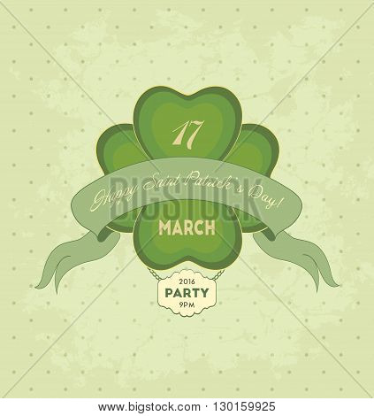 Vintage Saint Patrick's Day Background With Leaf And Title Inscription