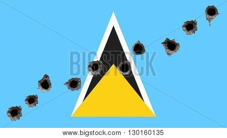 Flag of Saint Lucia painted on wall with bullet holes