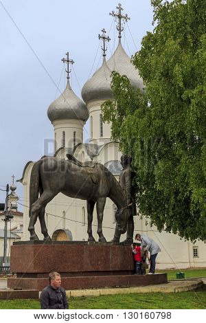 Vologda, Russia - May 24: This is monument to the famous resident of the city poet Batyushkov near the St. Sophia Cathedral May 24, 2013 in Vologda, Russia.