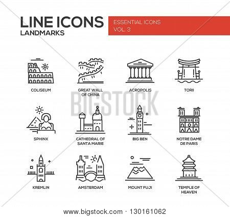 Set of modern vector simple plain line design icons and pictograms of world famous landmarks. Coliseum, Sphinx, Torii, Acropolis, Great Wall, Santa Marie Cathedral, Big Ben, Notre Dame, Fuji, Temple of Heaven, Kremlin, Amsterdam