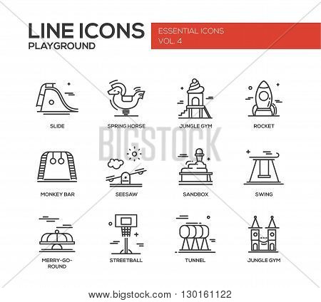 Set of modern vector simple plain line design icons and pictograms of children playground. Slide, spring horse, jungle gym, rocket, monkey bar, seasaw, sandbox, swing, merry-go-round, streetball, tunnel