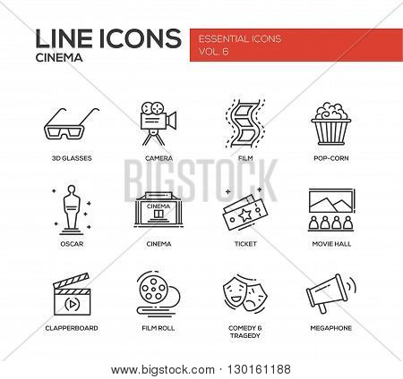 Set of modern vector simple plain line design icons and pictograms of cinema and movie production. 3d glasses, film, pop corn, camera, oscar, ticket, movie hall, clapperboard, roll, comedy, tragedy, megaphone