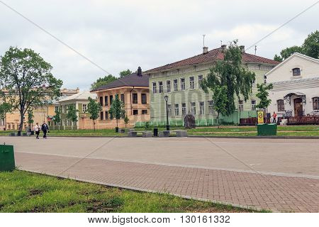 Vologda, Russia - May 26: This is the Kremlin Square with the late 19th century wooden houses May 26, 2013 in Vologda, Russia.