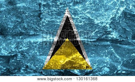 Flag of Saint Lucia painted on stones