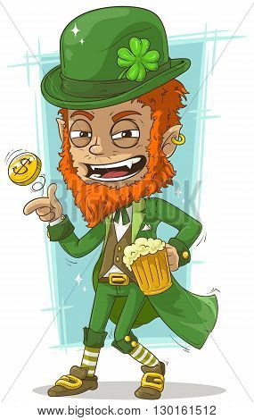 A vector illustration of cartoon leprechaun with gold coin and beer