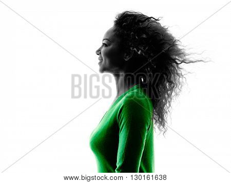 woman portrait profile silhouette isolated