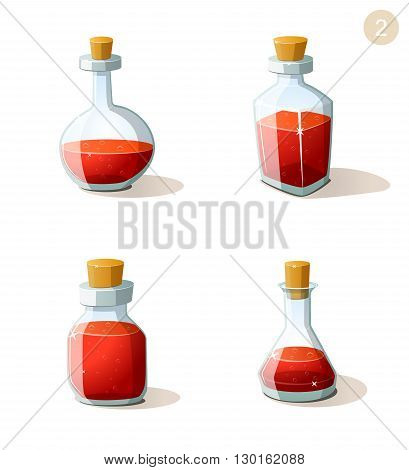 Vector set of bottles with red life potion. Game ui elements for mobile casual games. Parts of UI for 2d and 3d video games. Game creation set.