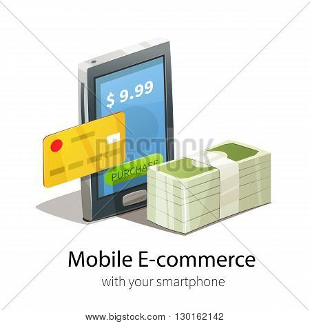 Mobile e-commerce concept. Smartphone plastic credit card and money. Isolated on white background.