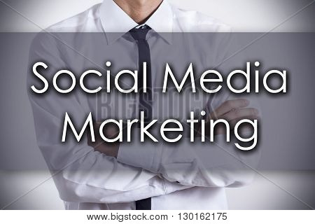 Social Media Marketing - Young Businessman With Text - Business Concept