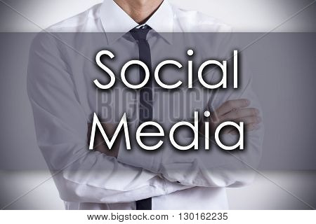 Social Media - Young Businessman With Text - Business Concept