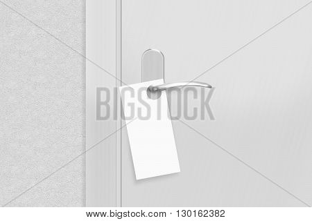 Door knob with blank flyer mock up, 3d illustration. Empty white flier mockup hang on door handle. Leaflet design on entrance doorknob.