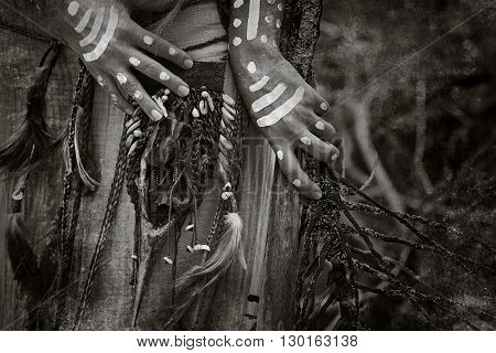 indian woman hands close up. Attractive tribal girl outdoors
