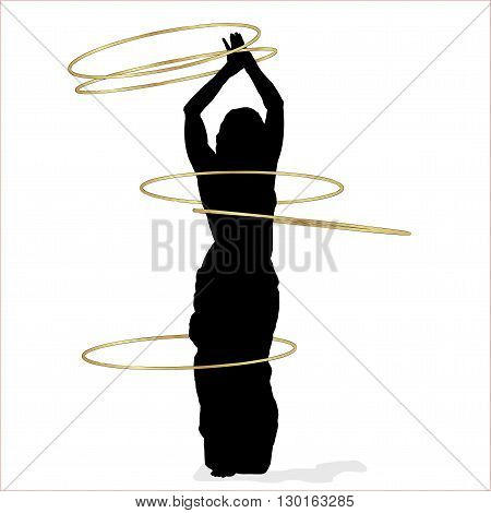 Editable vector illustration of a sexy woman dancing with many hula hoops. Separated objects