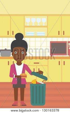 Woman throwing junk food.