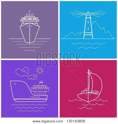 Icons Cruise Ship, Lighthouse, Cargo Ship, Yacht. Set of Bright Color Maritime Icons for Web Design, Vector Illustration