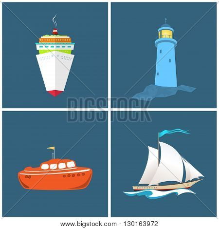 Front View of the Cruise Ship , Lighthouse,  Sailboat , Lifeboat, Vessels and the Lighthouse, Vector Illustration
