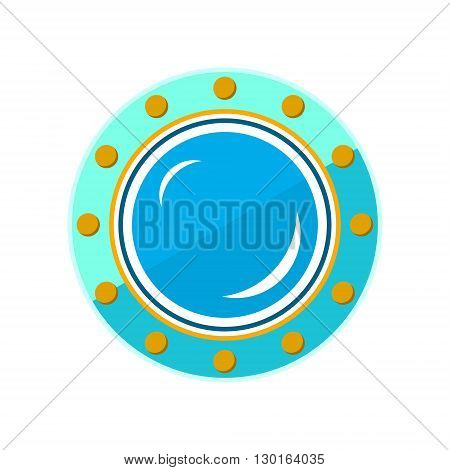 Porthole, Shipboard Window, Round Ship Porthole Isolated on White, Vector Illustration