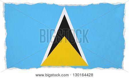 Flag of Saint Lucia painted on paper