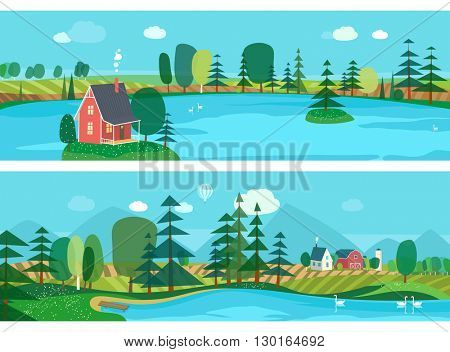Vector flat illustrations - Eco farm. Abstract forest. Wildlife. Forest view. Mountain landscape. Ecosystem. Forest lake. Agro-tourism.