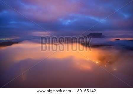 Lilienstein Night View, Saxon Switzerland, Germany