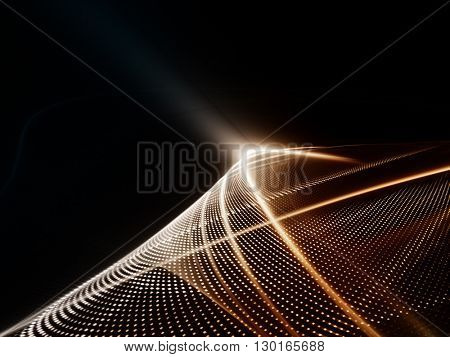 Abstract background element. Fractal graphics series. Three-dimensional composition of glowing lines and halftone effects. Information and energy concept. Red metal and black colors.