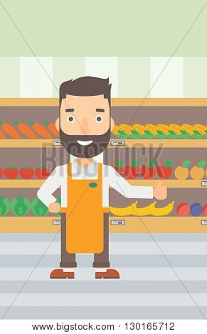 Friendly supermarket worker.