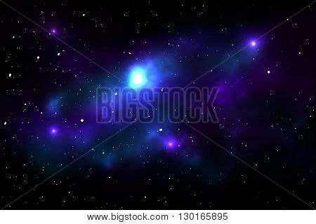 Night sky with stars and nebula. Space vector illustration