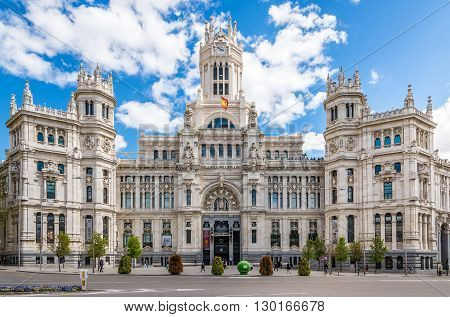 MADRID,SPAIN - APRIL 24,2016 - View at the Palace Cybele in Madrid. The Cybele Palace (City Hall)is a palace located on the Cybele Place in Madrid