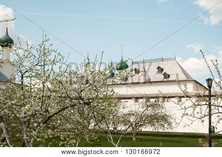 Rostov the Great in spring view to the kremlin The Church Of St. John The Evangelist and The Church Of St. Gregory The Theologian focus on flowers. The Golden Ring of Russia