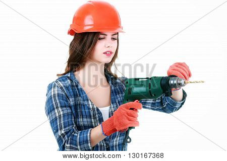 woman dressed in clothing of the builder