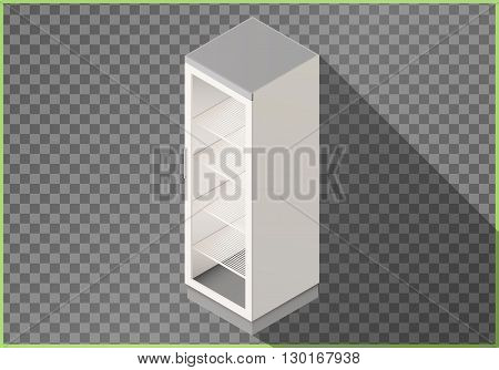 Refrigerator flat isometric vector. Fridge 3d illustration perspective view