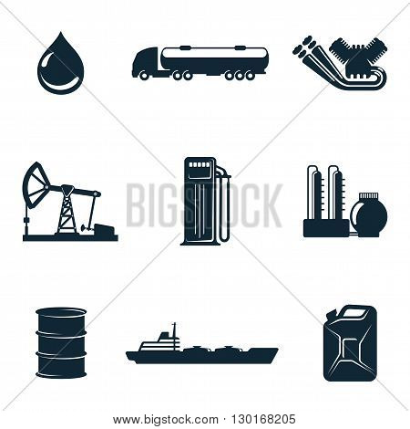 Oil icons, icons isolate on a white background, a set of gasoline filling station with fuel tankers and a barrel of gasoline icons, oil station manufacturing and marketing of oil icons