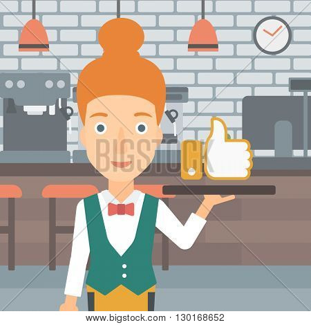 Waitress with like button.
