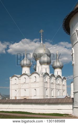Rostov the Great in spring view to the kremlin the Cathedral of the Assumption. The Golden Ring of Russia