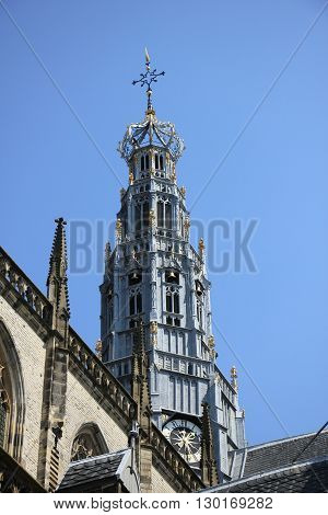 Detail of the great St. Bavo church in Haarlem the Netherlands