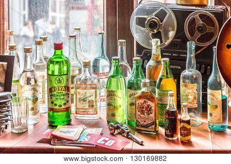 Kazan Russia - June 12 2015: Bottles of the USSR famous alchohol drinks
