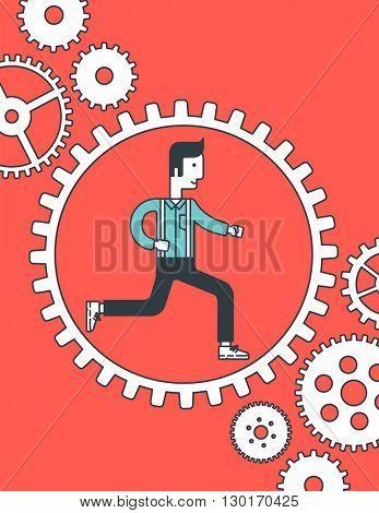 Man running inside the gear.
