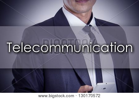 Telecommunication - Young Businessman With Text - Business Concept