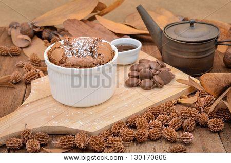 Dark chocolate cake (Lava cake) wooden, Selective focus