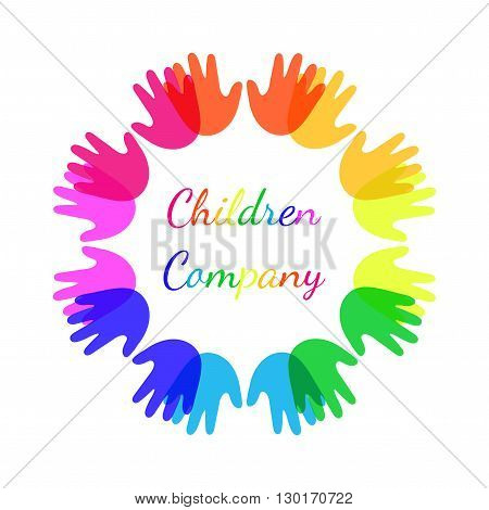 Bright colour children hands together in shape of circle. Design abstract logo for kindergarden charity medical center and other children projects